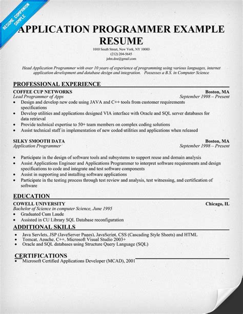Cobol Developer Sle Resume by Cobol Programmer Resume Cobol Programmer Resume Resume Ideas Program Analyst Resume Sles
