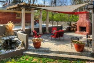 Curved Patio Pavers Paver Patio With Fire Pit Fountain Pergola And Custom