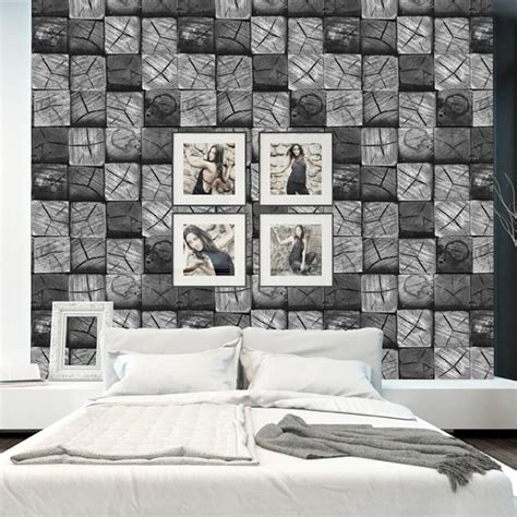 feature wallpaper for grey walls modern contemporary black grey white wood block 3d effect