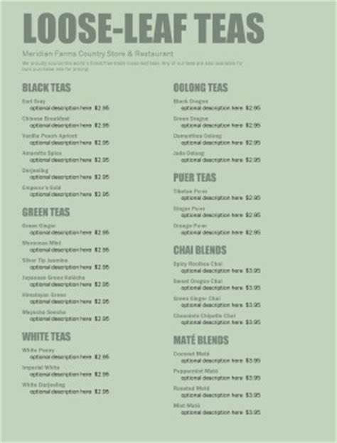 Tea room menu coffee house menus