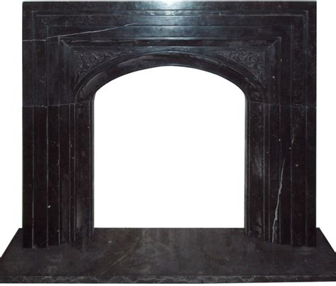 arched black marble carved fireplace surround
