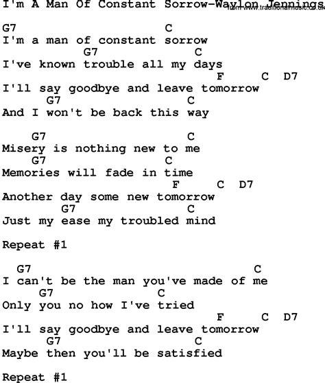 i m a lyrics country i m a of constant sorrow waylon lyrics and chords