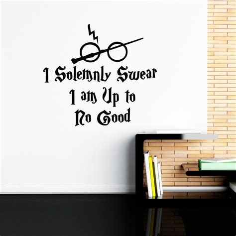 harry potter wall stickers harry potter wall decal quote i solemnly swear hogwarts wall