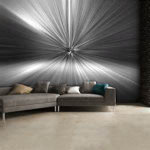 Contemporary Wall Murals Modern Geometric Black And White Silver Blast Abstract
