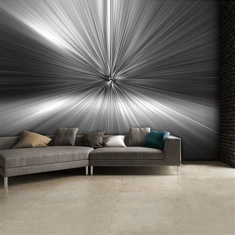 modern wall murals modern geometric black and white silver blast abstract