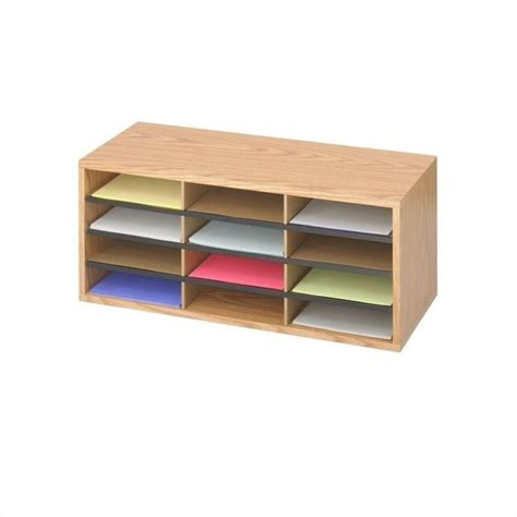 Patio Sheds Medium Oak Wood Corrugated 12 Compartment Mail Organizer