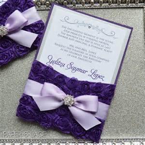 party invitation message ideas purple rosette quince invitation purple and silver swarovski