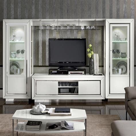 bianca white high gloss large tv wall unit  shelf