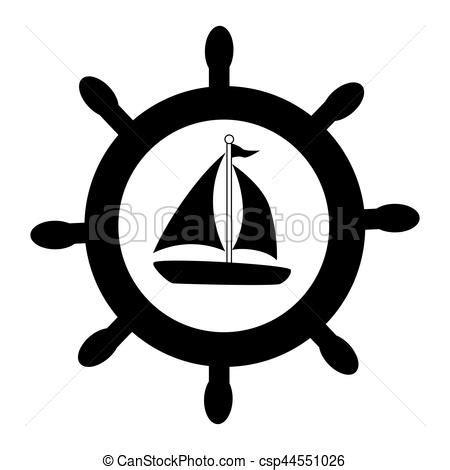 dessin bateau silhouette illustration vecteur de gouvernail yacht silhouette