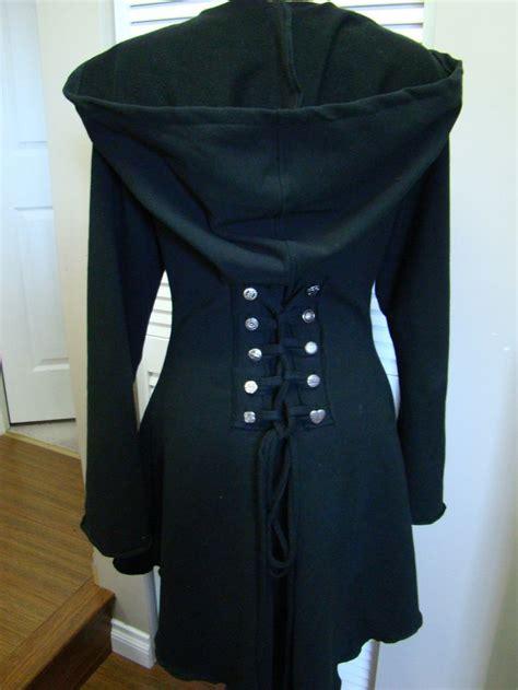 black riding jacket black fairy pixie steunk cloak jacket hoody modern red