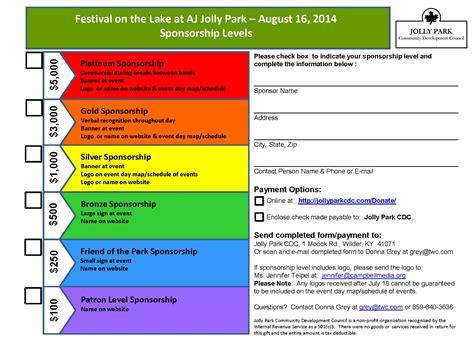 for sponsorship of an event sponsorship for festival at the lake event jolly park