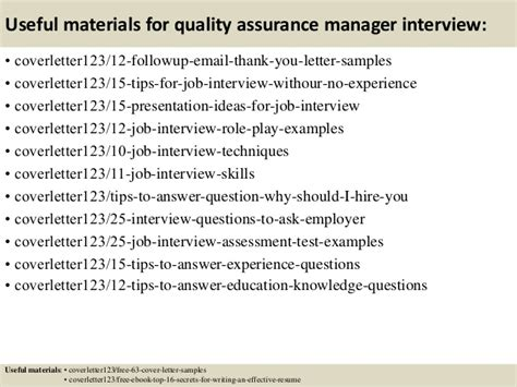 top 5 quality assurance manager cover letter sles