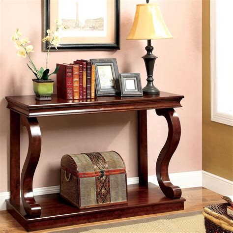 console table curved wood accent entry solid foyer