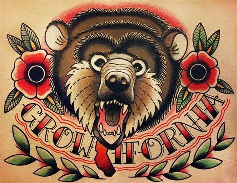 angry bear face with flowers banner tattoo tattoos book