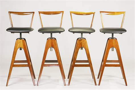 Th Brown Bar Stools by Set Of 4 Restored Th Brown Bar Stools