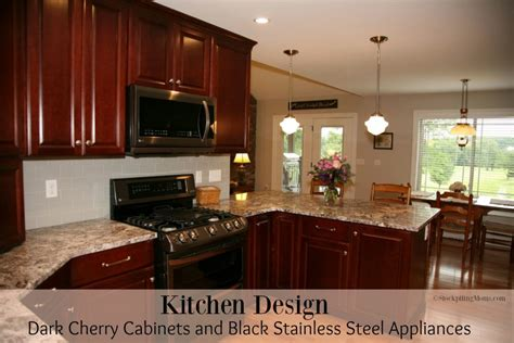 Kitchen Design Dark Cherry Cabinets And Black Stainless