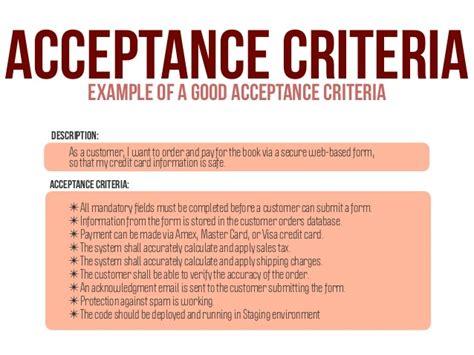design acceptance criteria acceptance criteriaexle of a good