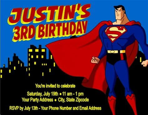 superman superpowers card template superman birthday invitations personalized custom