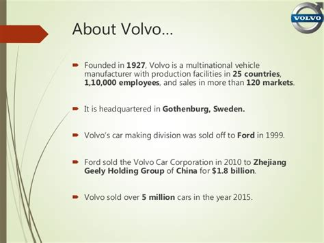 volvo mission statement brand positioning statement of volvo