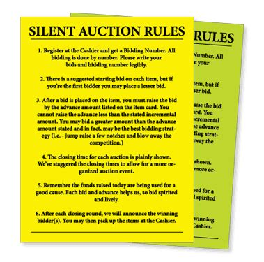 auction number cards template silent auction bid sheet search are we there