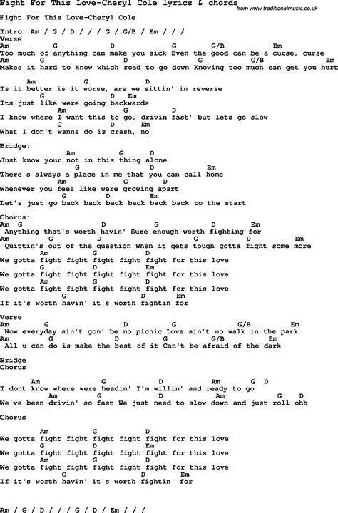 printable song lyrics with chords love song lyrics for fight for this love cheryl cole with