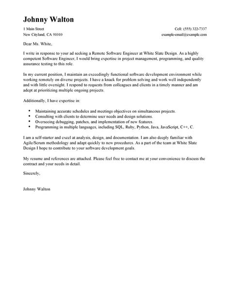 cover letter for experienced software engineer best remote software engineer cover letter exles