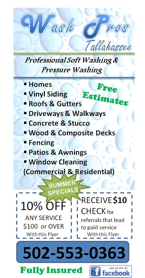 Wash Pros Tallahassee Power Washing Flyer Templates Free
