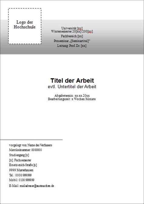 Vorlage Word Hausarbeit Deckblatt F 252 R Die Hausarbeit Tipps Muster Vorlagen