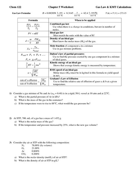 Ideal Gas Practice Worksheet Answers by 15 Best Images Of Ideal Gas Worksheet Ideal Gas