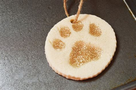 white  gold paw print christmas ornament craft dogvills
