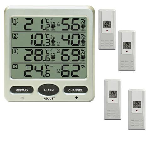 funk wanduhr digital groß funk thermometer ft0073 mit 4 aussensensoren luftfeuchte