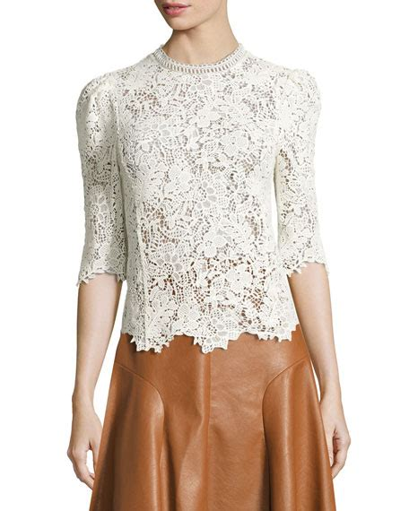 Lace Mock Neck Sleeve Top arella lace mock neck 3 4 sleeve top white