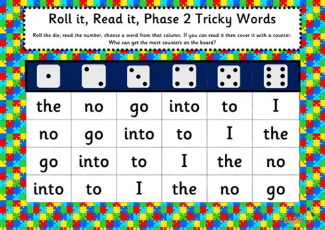 printable phonics games year 1 roll it read it phonics games phases 2 5 tricky words by