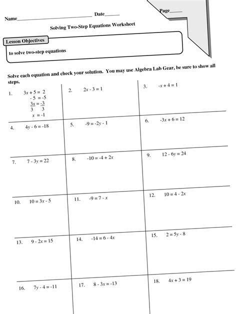 8th Step Worksheet by Pictures Solve Two Step Equations Worksheet Getadating