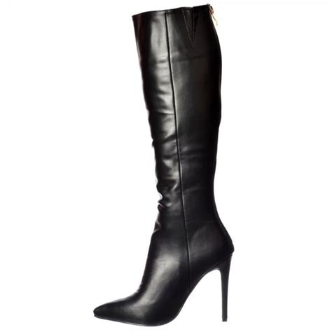 shoekandi stiletto heel pointed toe knee high boots