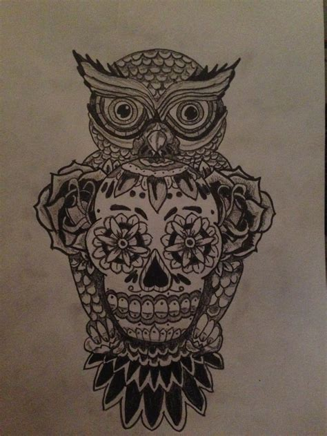 sugar owl tattoo design tattoo drawing owl and skull design tattoo my art