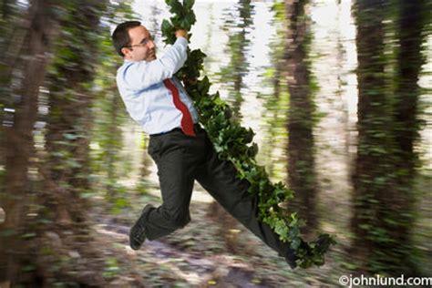 swinging man ethnic businessman swinging on a vine through the forrest