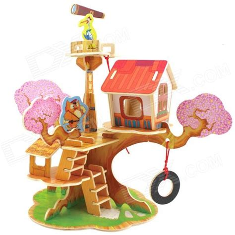 robotime f110 wooden model watchtower puzzle toys yellow