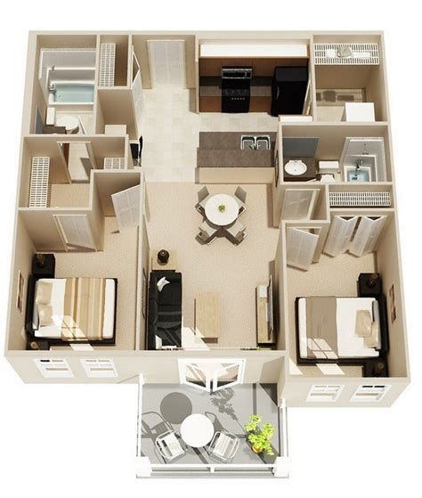 apartments awesome mediterranean bedroom design plans 20 awesome 3d apartment plans with two bedrooms part 2