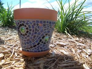 blue wave glass new mosaic planter