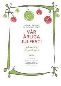 inbjudan till julfest med julpynt i r 246 tt och gr 246 nt