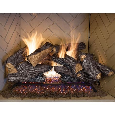 How To Place Firewood In Fireplace by Emberglow 24 In Split Oak Vented Gas Log Set