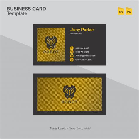 Golden Business Card Template by Modern Golden Robot Business Card Template Vector