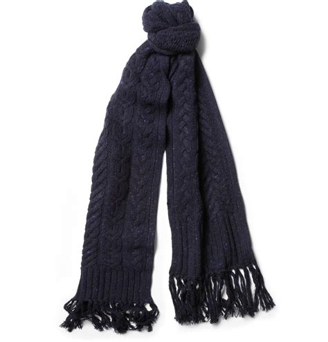 rag bone flecked cable knit wool scarf in blue for