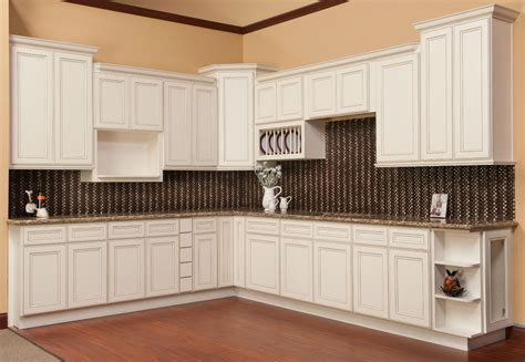 White Kitchen Cabinets With Glaze Brantley Antique White Glaze Ready To Assemble Kitchen Cabinets Kitchen Cabinets