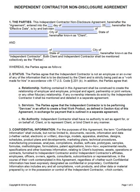Free Independent Contractor Non Disclosure Agreement Nda Template Pdf Word Nda Agreement Template Pdf