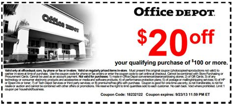 office depot coupons off 250 office depot 20 off 100 printable coupon