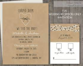 wedding reception only invitations on kraft paper rustic wedding invitations confetti lights
