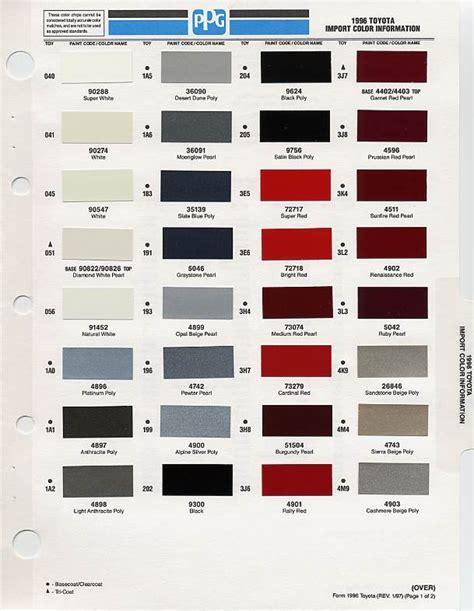 toyota paint color chart car interior design