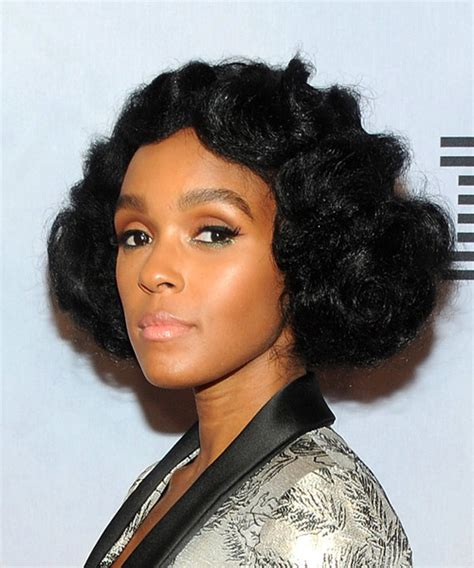 Janelle Monae Hairstyle by Janelle Monae Curly Casual Bob Hairstyle Black